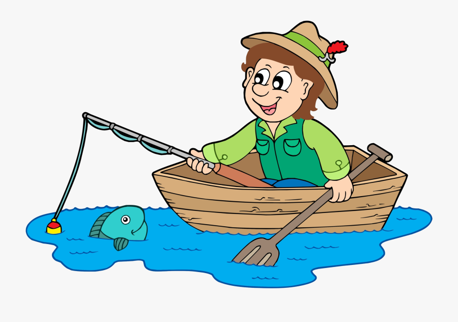 Cartoon Fisherman In Boat Free Transparent Clipart Clipartkey