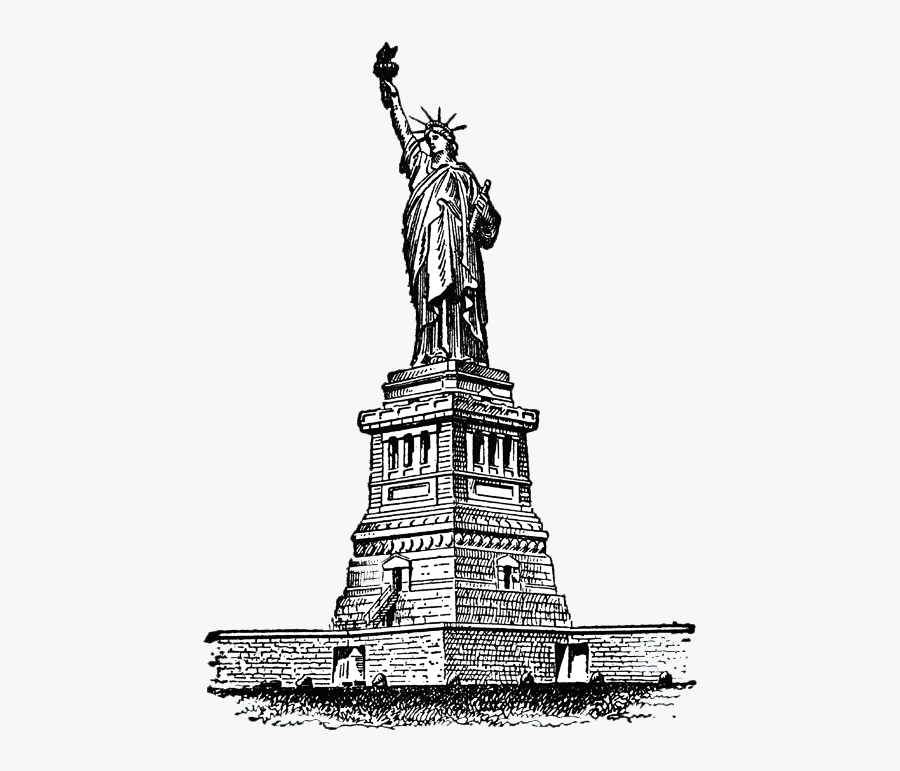 Liberty Drawing Sketch - Liberty Statue In Drawing, Transparent Clipart