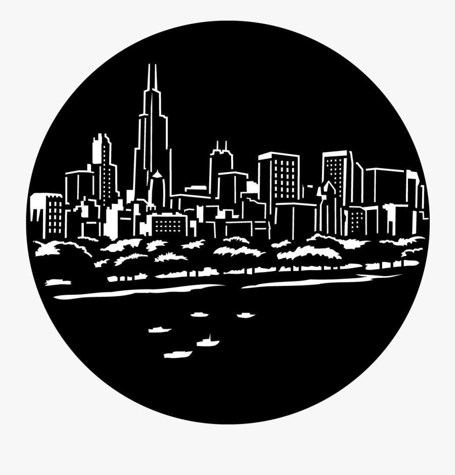 Windy City Skyline Color, Transparent Clipart