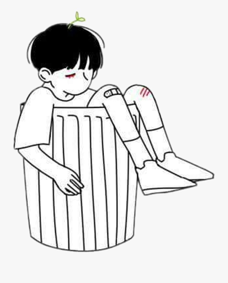 Sad Depression Trash Cute Bad Sadboy Cutesad Clipart Aesthetic Black And White Stickers Free Transparent Clipart Clipartkey