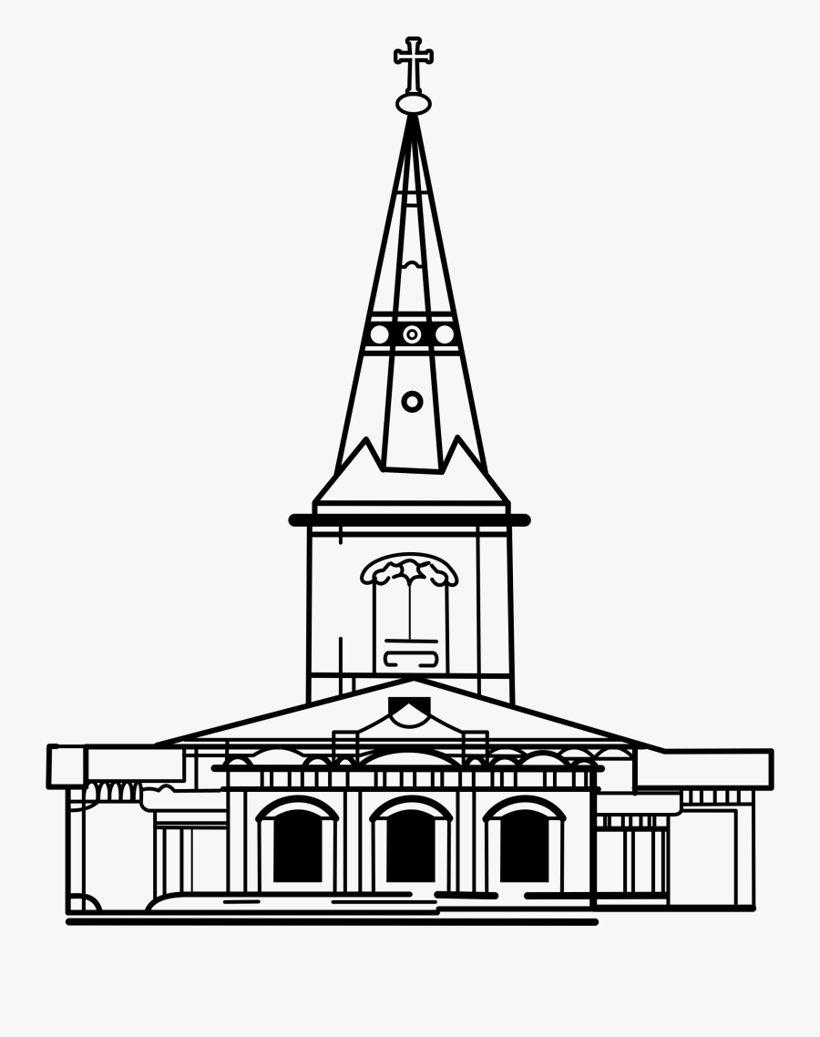 Church Clip Art Png - Drawing Of Church Building, Transparent Clipart