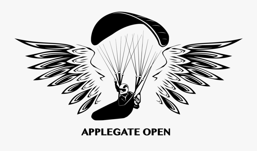 Paraglide Black And White, Transparent Clipart