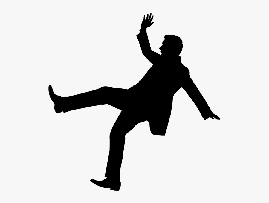 Guy Falling Png Clip Art Royalty Free Library - Slip And Fall Silhouette, Transparent Clipart