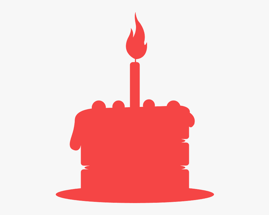 Black Birthday Cake Silhouette, Transparent Clipart