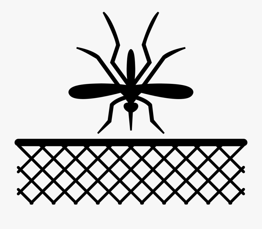 Mosquito Insect And Net In Black - Window Mosquito Net Art, Transparent Clipart