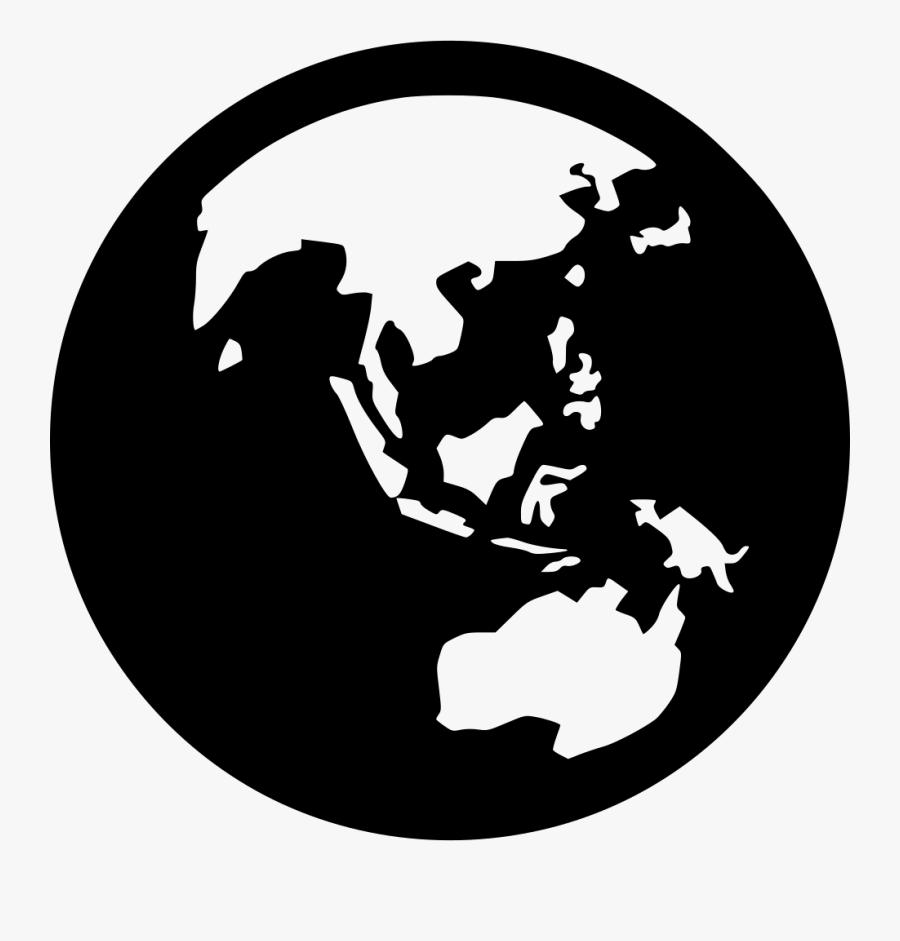 Asia Drawing Earth - Black And White Globe Asia, Transparent Clipart
