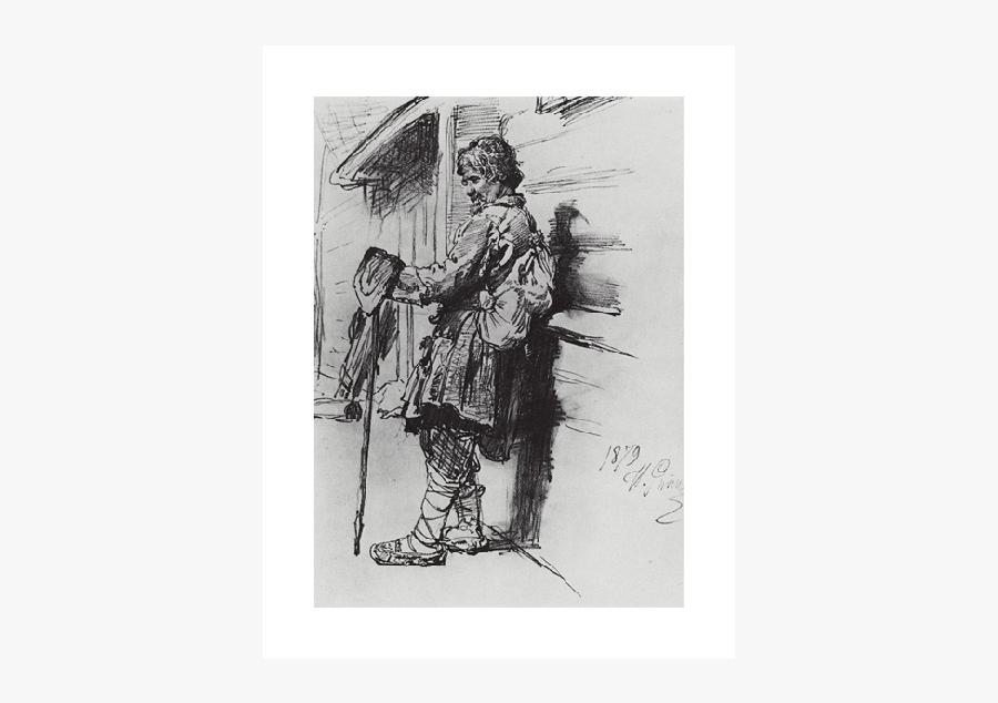 Beggar Drawing English - Beggar With A Bag, Transparent Clipart