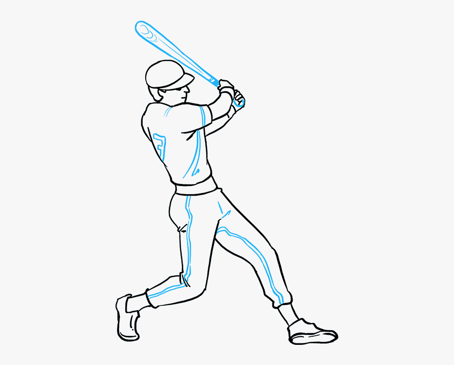 How To Draw Baseball Player Baseball Player Drawing Easy Free Transparent Clipart Clipartkey