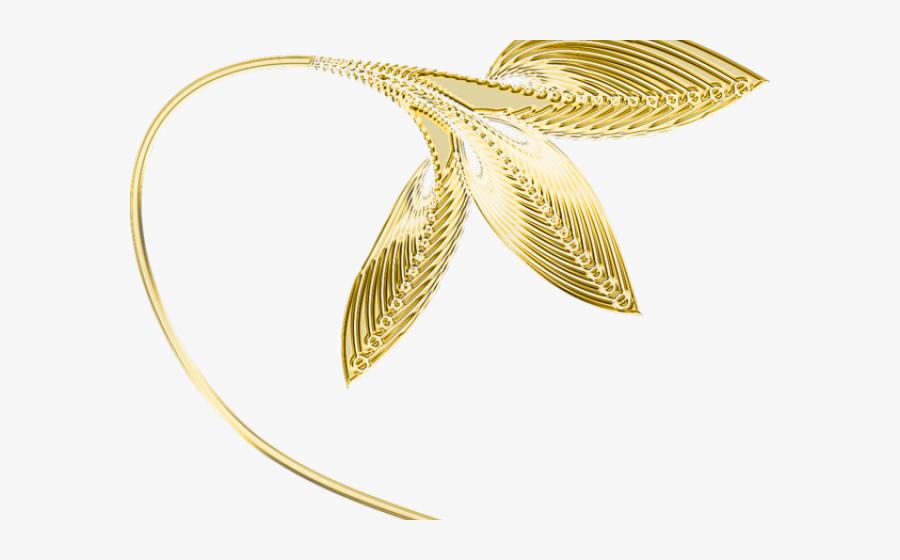Decorative Line Gold Clipart Png - Gold Leaf Transparent Background, Transparent Clipart