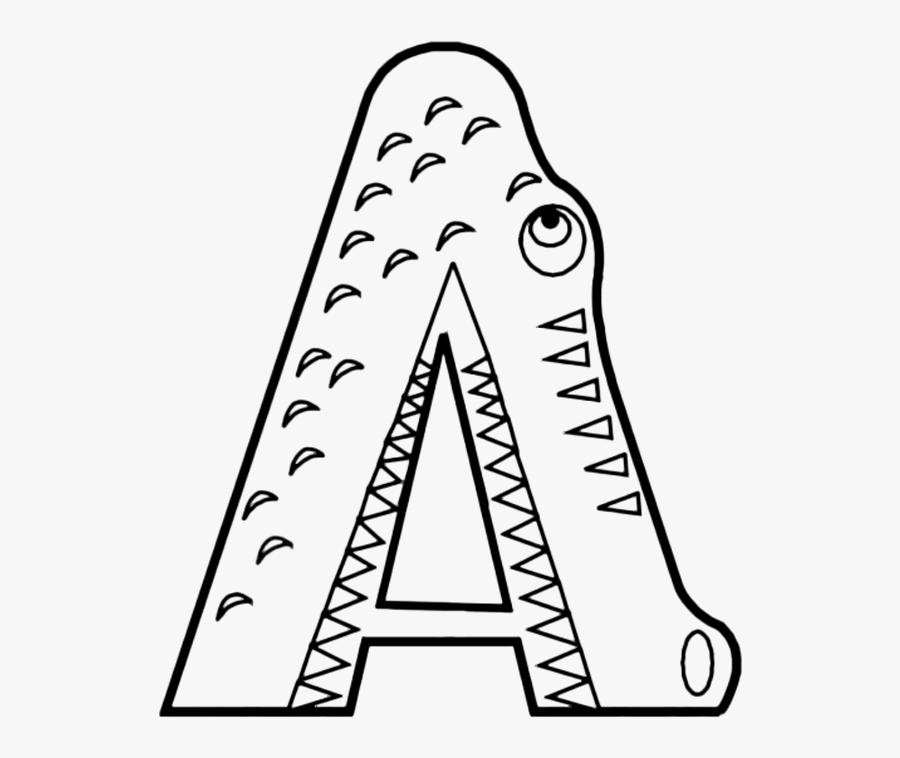 Clip Art Abc Coloring - Letter A Alligator Printable, Transparent Clipart