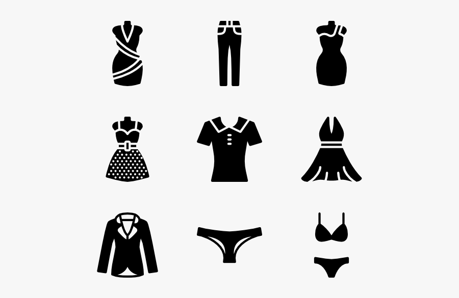 Little Black Dress - Women Clothing Icon Png , Free ...