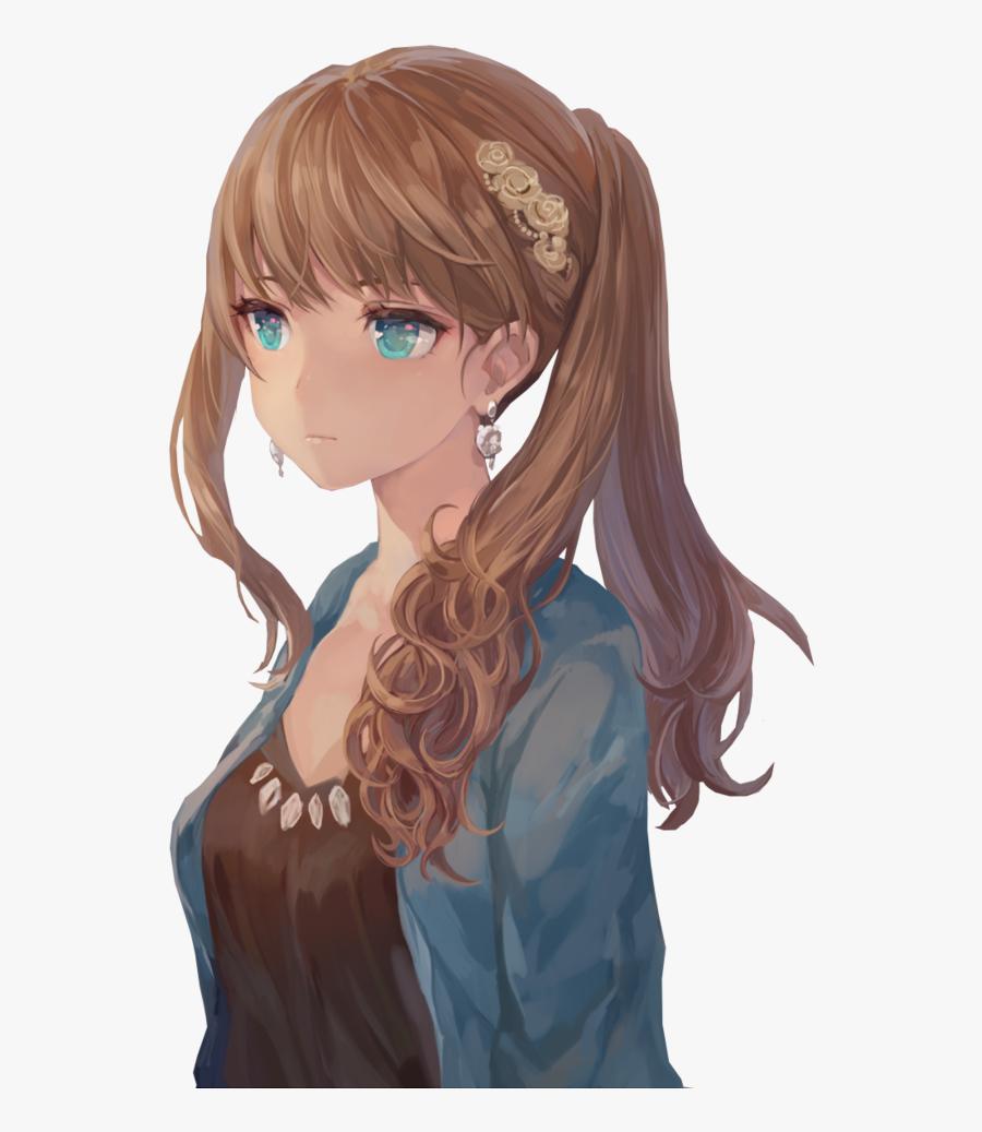 Transparent Curly Hair Clipart Anime Girl Brown Hair Blue Eyes