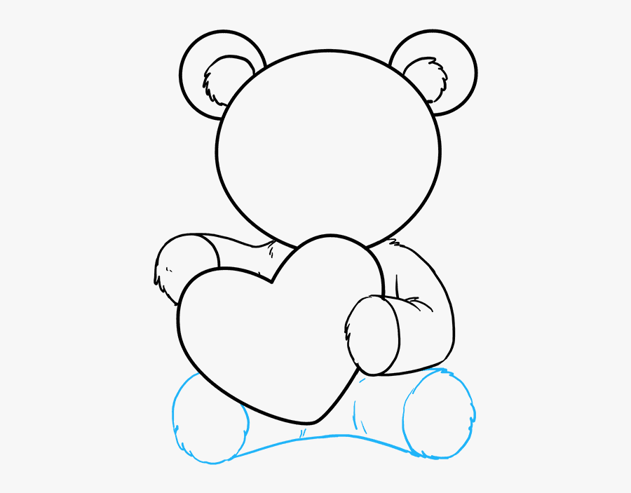 How To Draw Teddy Bear With Heart - Teddy Bear Holding Heart Drawing, Transparent Clipart