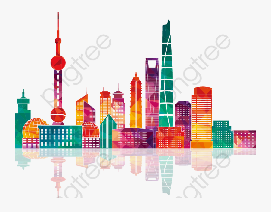 Colorful Shanghai Building Silhouettes, Transparent Clipart