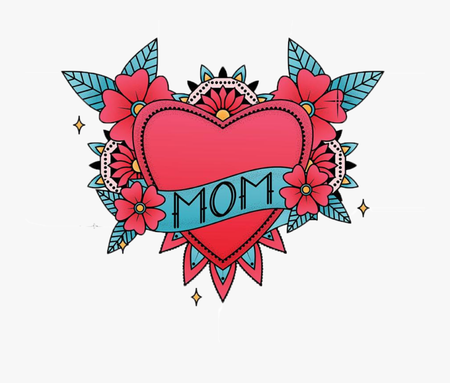 Mom Heart In Color Heart- - Clip Art, Transparent Clipart