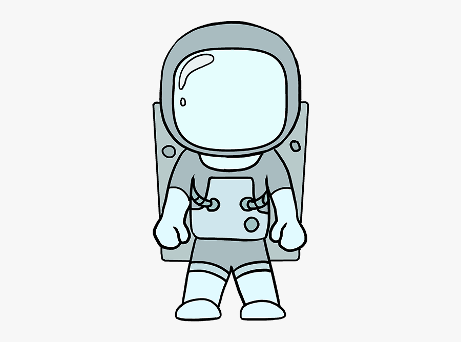 How To Draw Astronaut - Astronaut In Space Drawing Easy, Transparent Clipart