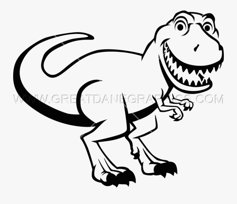Smiling T-rex - T Rex Clipart Black And White, Transparent Clipart