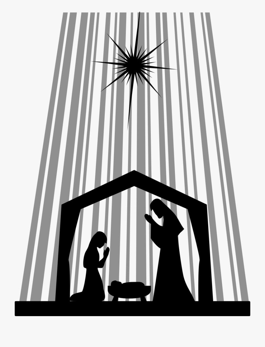 Clipart - Nativity Silhouette - Manger Scene Stable ...