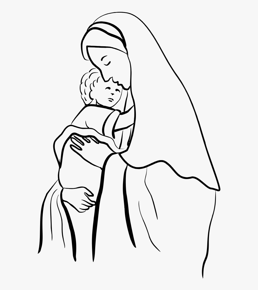 Emotion,art,monochrome Photography - Mother Mary And Jesus Drawing, Transparent Clipart