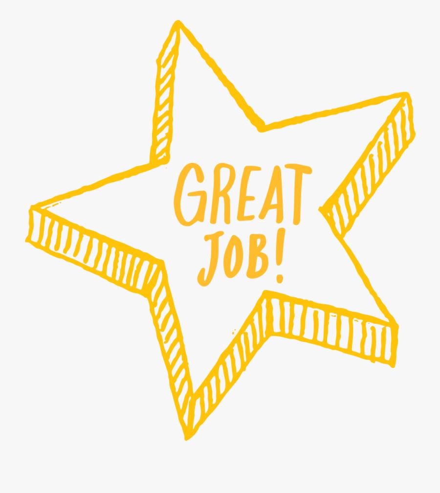Gold Star Good Job Clipart - Good Job No Background, Transparent Clipart