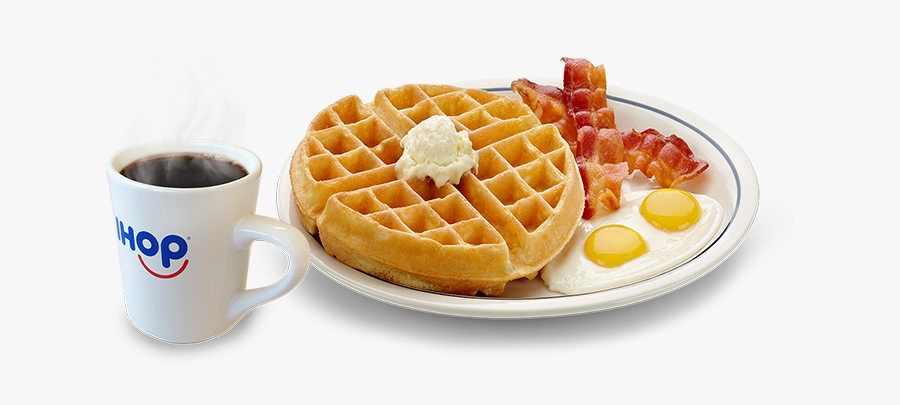 Dish,food,belgian - Eggs Bacon And Waffles, Transparent Clipart