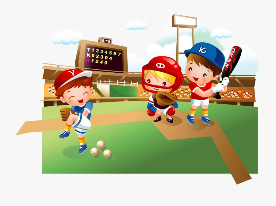 Baseball Field Cartoon Child - They Are Playing Baseball Cartoon, Transparent Clipart