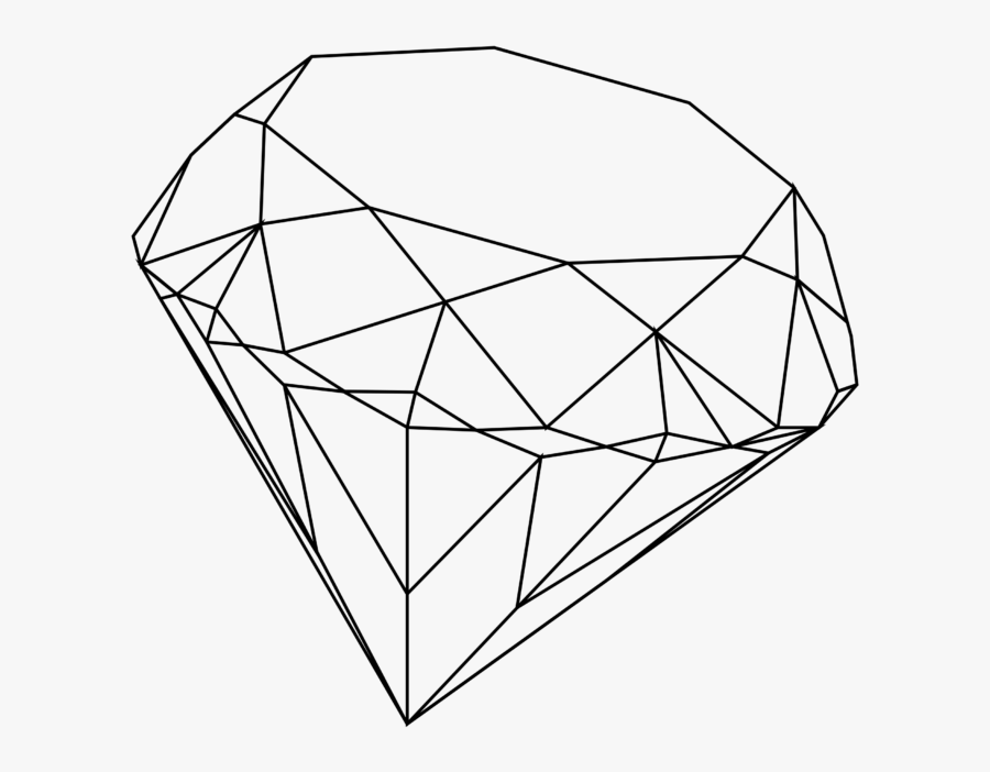 Transparent Baseball Diamond Clipart Black And White - Diamond Gem Line Drawing, Transparent Clipart