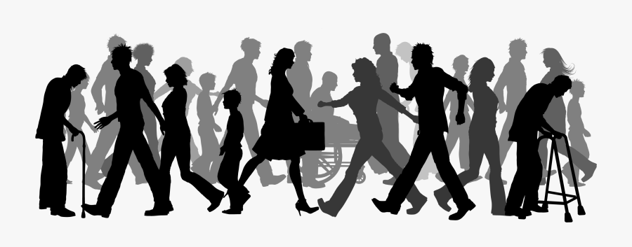 Walking Clip Art - Group People Walking Silhouette, Transparent Clipart