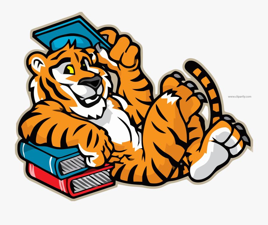 Tigger Mascot Graduate Illustration Clipart Png Image - Elementary School Tiger Mascot, Transparent Clipart