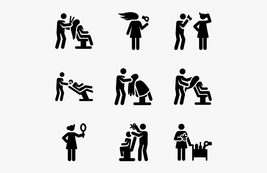 People In Group,font,human,black And White,illustration,band - Hair Salon Icon Png, Transparent Clipart
