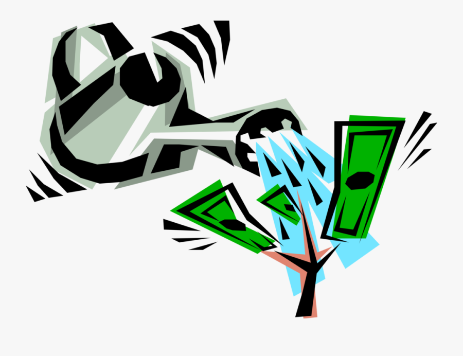 Vector Illustration Of Water Can Watering Money Tree - Money Tree Clip Art, Transparent Clipart