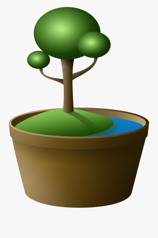 Tree In Pot Clipart - Png ภาพ ต้นไม้ การ์ตูน, Transparent Clipart