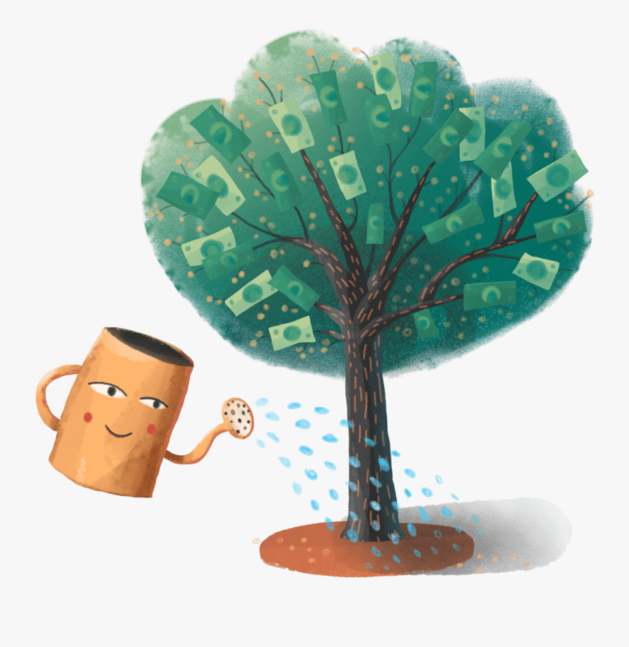 Download Illustration Of A Watering Can Watering A - Illustration, Transparent Clipart