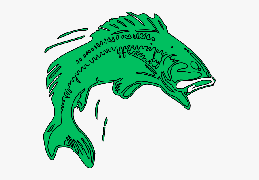 Largemouth Bass Fish Clip Art - Bass Fishing Cartoon, Transparent Clipart