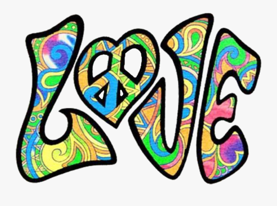 Love Hippie Retro Psychedelic Peace - Hippie Peace And Love Sign, Transparent Clipart