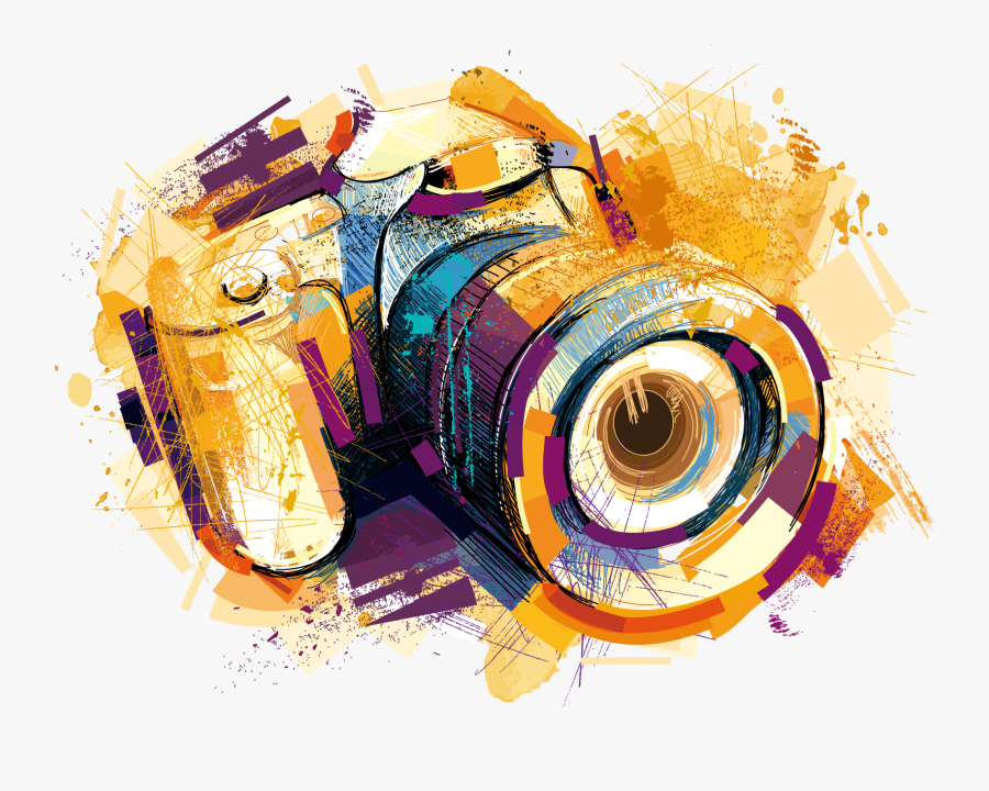 Camera Photography Watercolor Vector Effects Drawing - Transparent Camera Vector Png, Transparent Clipart