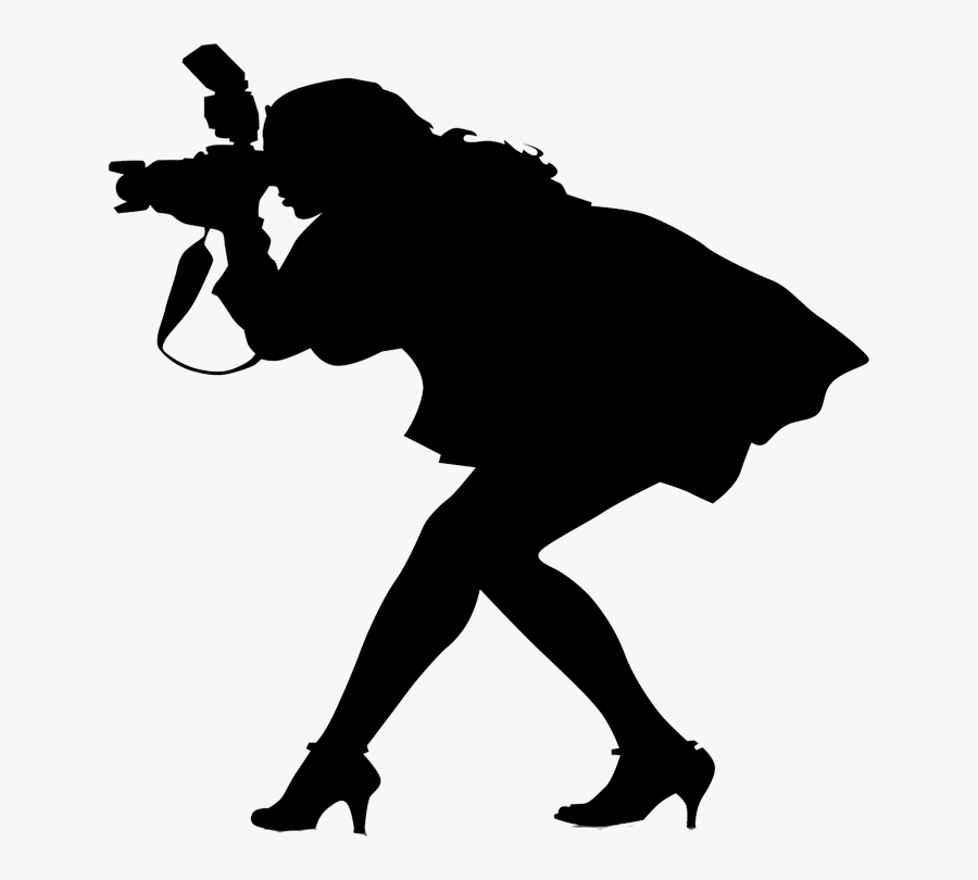 Wedding Photography Cliparts - Female Photographer Silhouette, Transparent Clipart