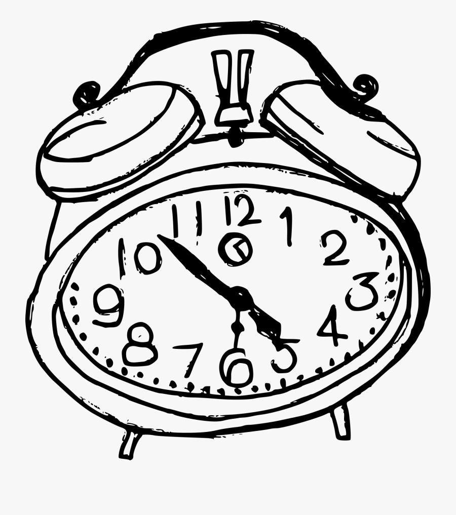 Clip Art Alarm Clock Drawing - Alarm Clock Drawing On Transparent Background, Transparent Clipart