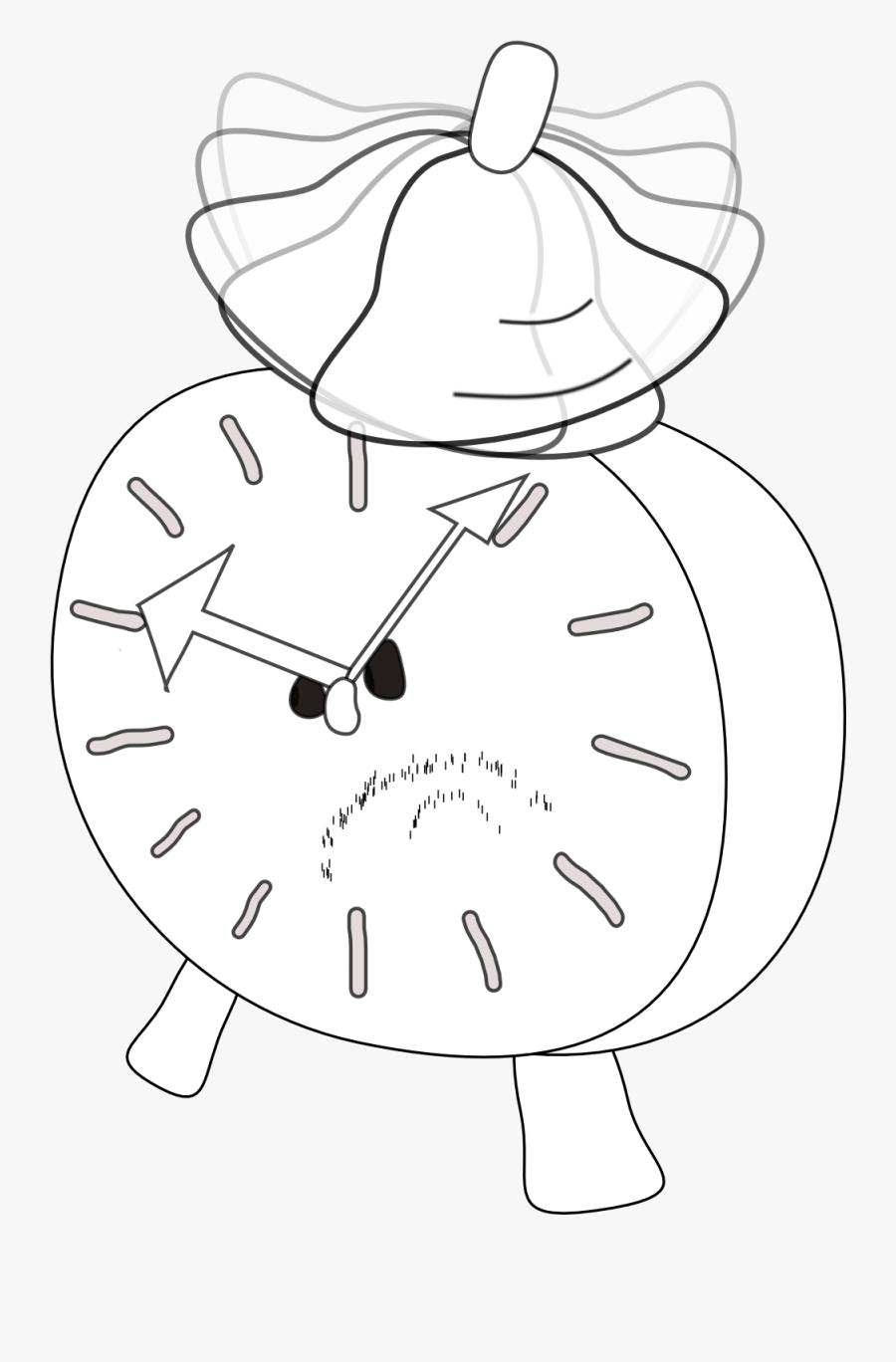 Alarm Clock Is Angry Alarm Clock Black White Line Art - Alarm Clock, Transparent Clipart