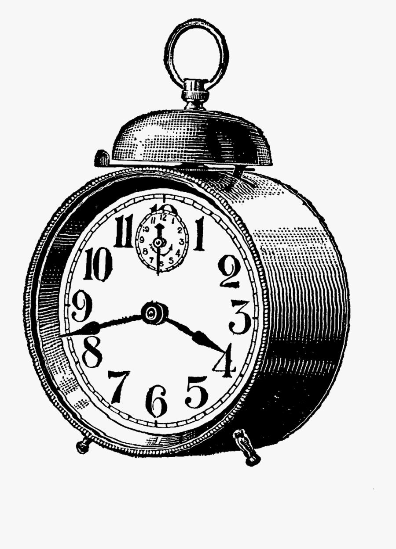 Digital Stamp Design - Alarm Clock Vintage Illustration, Transparent Clipart