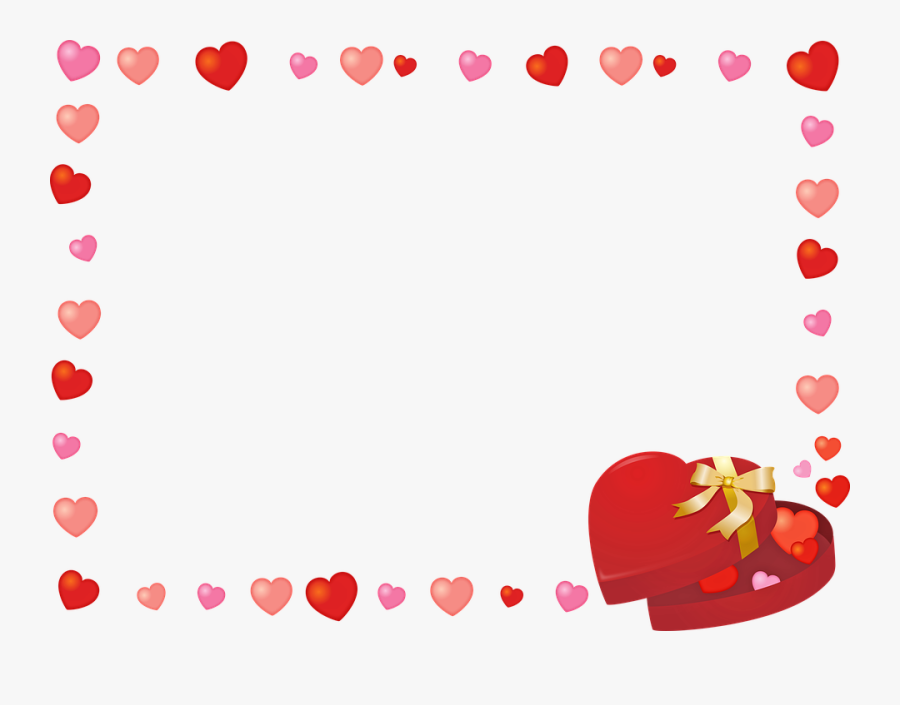 Valentine Frame Clip Art, Hearts, Candy, Chocolate - Marco San Valentin Png, Transparent Clipart