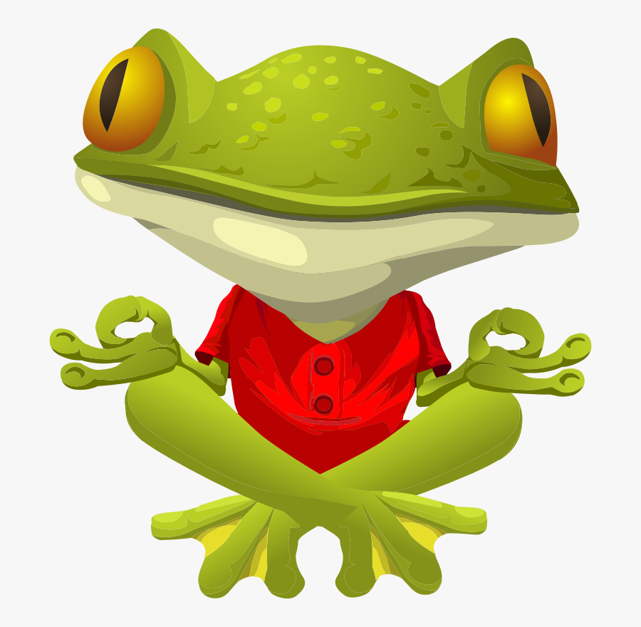 Cute Frog Graphics Free Practicing Yoga Clip Art Frogs - Cartoon Yoga Transparent Background, Transparent Clipart