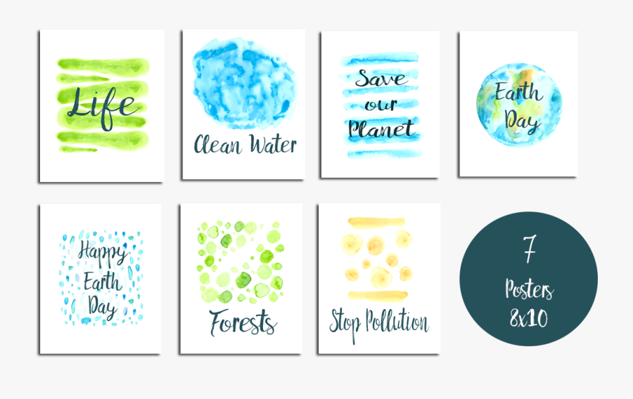 Earth Day Clip Art Set And Posters Example Image, Transparent Clipart
