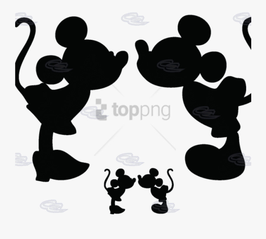 Mickey Mouse Minnie Mouse Silhouette Clip Art - Kissing Mickey And Minnie, Transparent Clipart