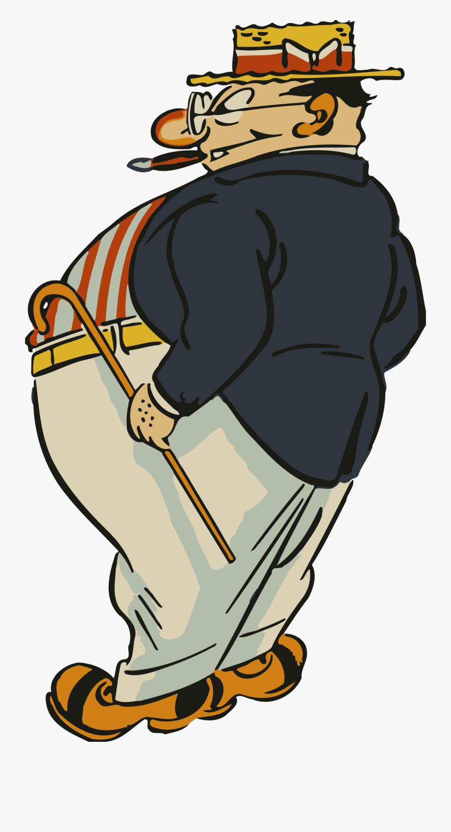 Transparent Fat Clipart - Fat Man Cartoon Drawing, Transparent Clipart