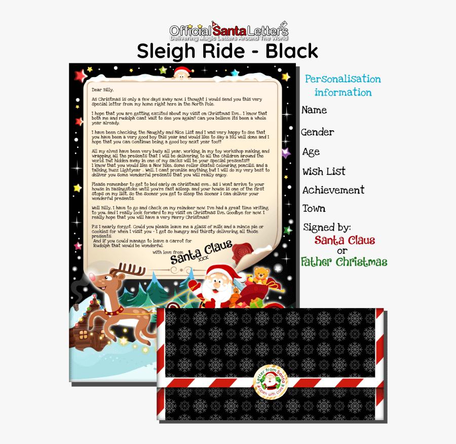 Black Letter From Santa - Santas List Millies Presents, Transparent Clipart