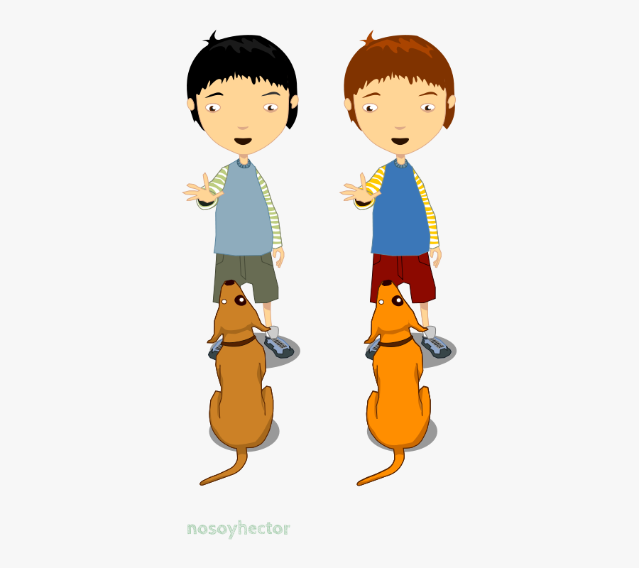 Child &amp - Boys With Dogs Cartoon, Transparent Clipart