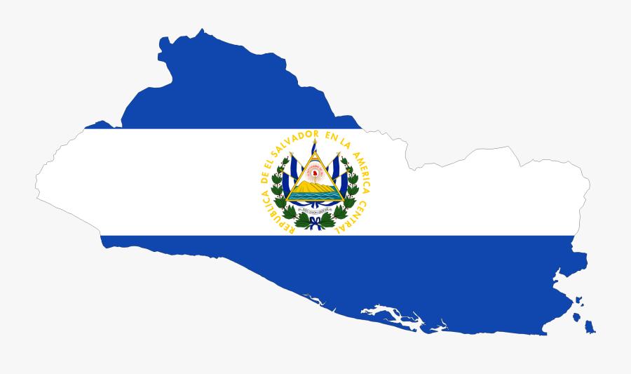 Clipart - El Salvador Flag Map, Transparent Clipart