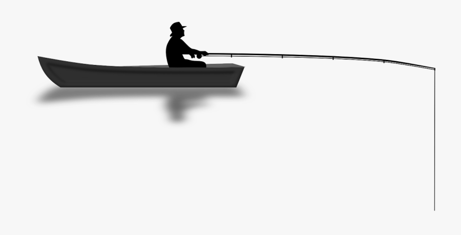 Transparent Fishing Rod Png - Man On Boat Silhouette, Transparent Clipart
