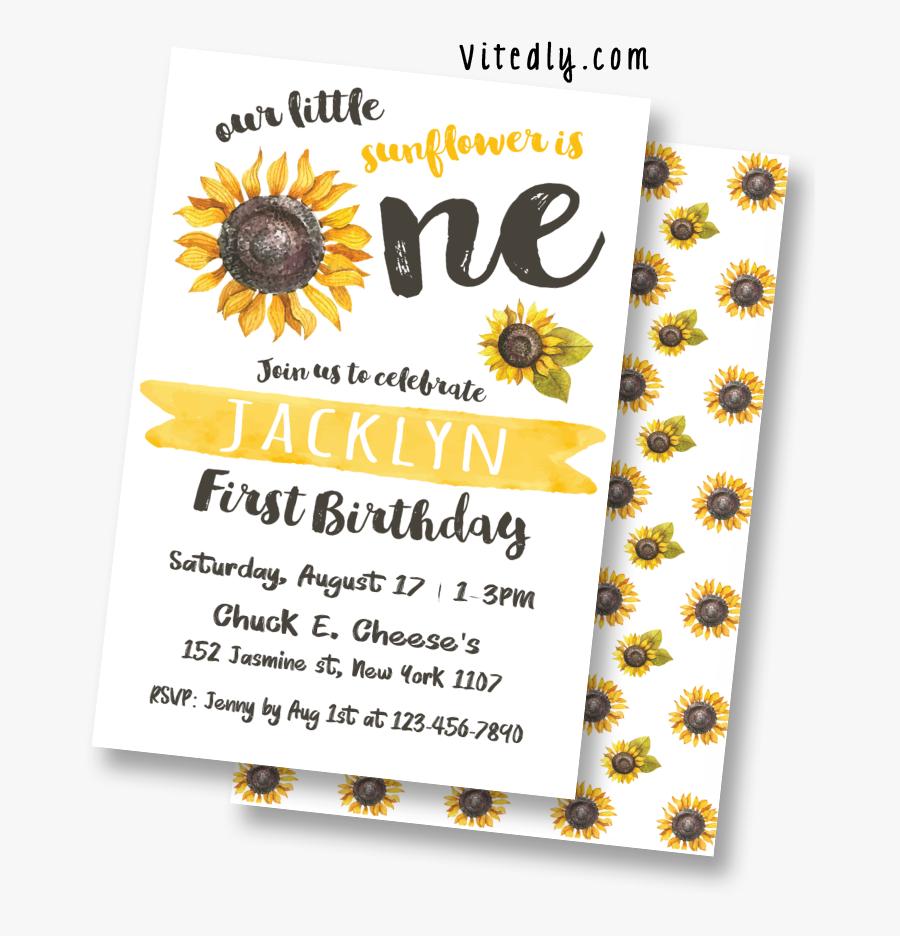 Sunflower Invitation Card 1st Birthday Free Transparent